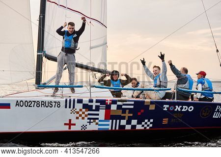 Russia, St.petersburg, 05 September 2020: The Team Celebrates A Victory In Race, A Sailing Regatta O