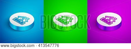 Isometric Line Hanging Sign With Text Sold Icon Isolated On Blue, Green And Purple Background. Sold