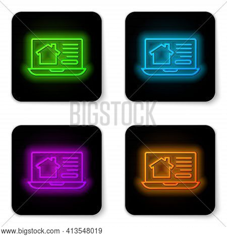 Glowing Neon Line Online Real Estate House On Laptop Icon Isolated On White Background. Home Loan Co
