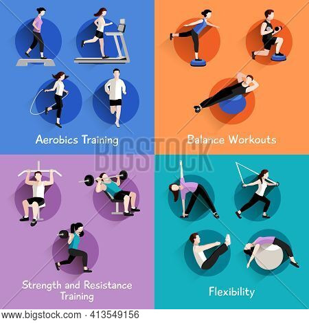 Fitness Aerobic Strength And Body Shaping Exercises 4 Flat Icons Square Composition Banner Abstract