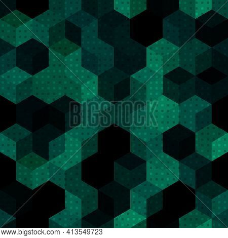 Texture Military Malachite Green Colors Forest Camouflage Seamless Pattern