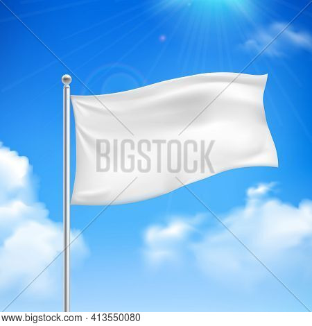 White Flag In The Wind Against The Blue Sky With White Clouds Background Banner Abstract Vector Illu