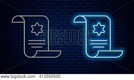 Glowing Neon Line Torah Scroll Icon Isolated On Brick Wall Background. Jewish Torah In Expanded Form