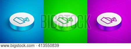 Isometric Line Nachos In Bowl Icon Isolated On Blue, Green And Purple Background. Tortilla Chips Or