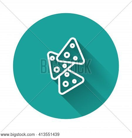 White Line Nachos Icon Isolated With Long Shadow Background. Tortilla Chips Or Nachos Tortillas. Tra