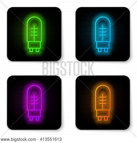 Glowing Neon Line Light Emitting Diode Icon Isolated On White Background. Semiconductor Diode Electr