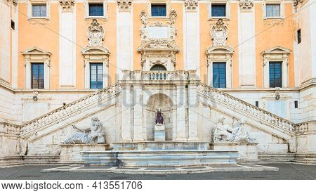 Rome, Italy. View Of The Staircase Of The Palazzo Senatorio, A Renaissance Masterpiece. Its Double R