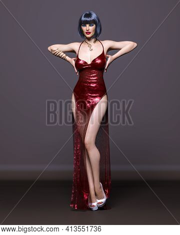 Beautiful Sexy Brunette Woman In Long Evening Dress.summer Clothes Collection.bright Makeup.woman St