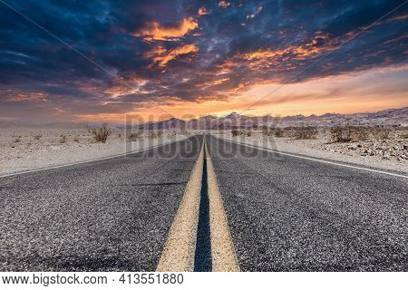 Route 66 In The Desert With Scenic Sky. Classic Vintage Image With Nobody.