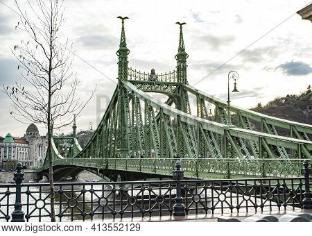 Budapest, Hungary, March 19, 2019: Close Up Of The Liberty Bridge On The Danube River In Budapest, H