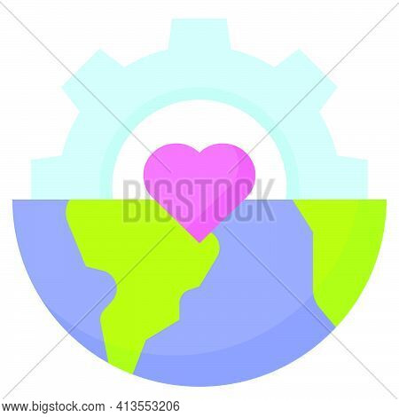 Half Gear With Half Earth Icon, Earth Day Related Vector Illustration