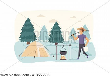 Man Resting In Camping Tent Scene. Tourist Cooking Food In Campfire At Summer Camp. Hiking On Nature