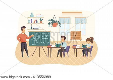 Geography Lesson Scene. Teacher Stand By Chalkboard, Pupils Study In Classroom. Primary Education, B