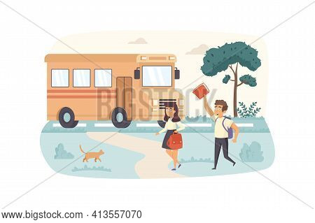 Pupils Go To School Yellow Bus Scene. Schoolgirl And Schoolboy With Schoolbags Rush To Lessons. Prim