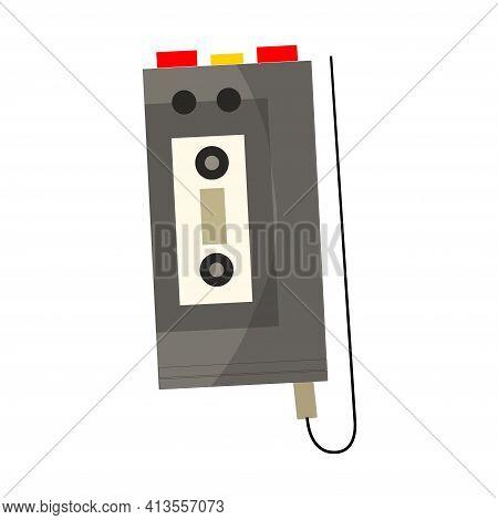 Vintage Music Object. Retro Audio Cassette Voice Recorder. Color Symbol Design. Vector Illustration