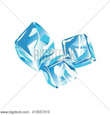 Water Ice Cube Icon. Frozen Water Particles. Set Of Translucent Ice Cubes In Blue Colors. Realistic