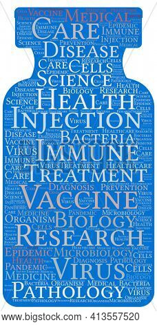 Blue Vaccine Vial Word Art on White with Clipping Path