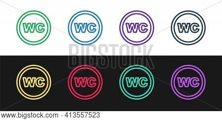 Set Line Toilet Icon Isolated On Black And White Background. Wc Sign. Washroom. Vector