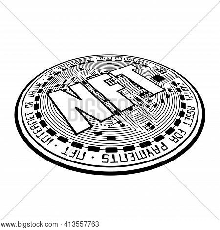 Black Nft Cryptocurrency Coin Silhouette. Non Fungible Coin Isometric Abstract Silhouette Isolated O