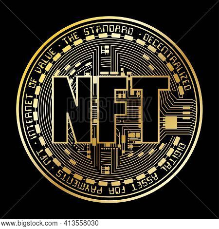 Golden Colour Coin Silhouette With Nft Letters For Digital Art Sale Isolated On Black Background