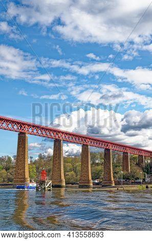 The Forth Rail Bridge At South Queensferry Near Edinburgh Lothian - Scotland - United Kingdom. The F
