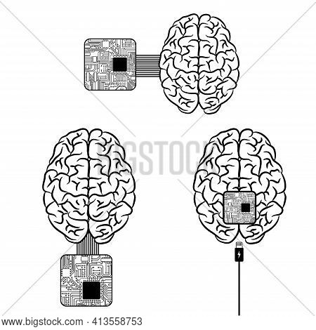 Human Brain Chip Integration Background With Two Parts Of Organ. Inner And Outer Electric Microchip