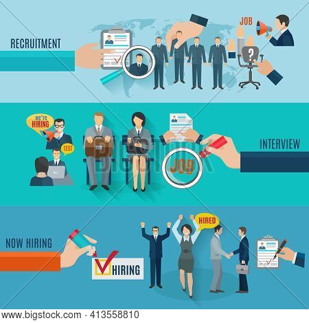 Hire Horizontal Banner Set With Recruitment Interview Flat Elements Isolated Vector Illustration