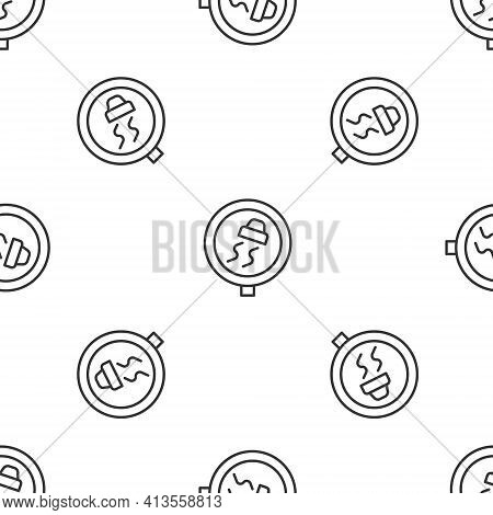 Grey Line Slippery Road Traffic Warning Icon Isolated Seamless Pattern On White Background. Traffic