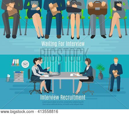Hiring Process Horizontal Banner Set With People Waiting For Recruitment Interview Flat Elements Iso