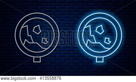 Glowing Neon Line Road Sign Warning Avalanche Rockfall Landslides Icon Isolated On Brick Wall Backgr
