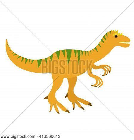Carnivorous Dinosaur Allosaurus In Cartoon Style, Cute Big Prehistoric Animal Vector Illustration