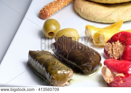 Close Up Of Greek Traditional Appetizer Also Known As Meze