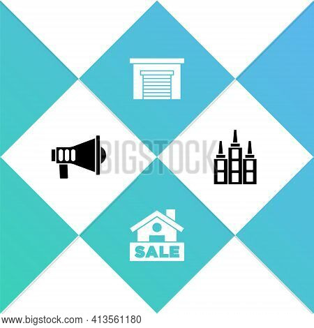 Set Megaphone, Hanging Sign With Sale, Garage And Skyscraper Icon. Vector