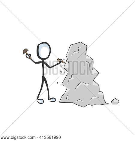Sculptor Carving Stone Sculpture. Vector Simple Statue Carver. Stickman No Face Clipart Cartoon. Han