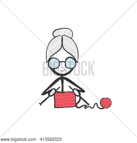 Old Lady Knitting. Vector Simple Granny Wool Knit. Stickman No Face Clipart Cartoon. Hand Drawn. Doo