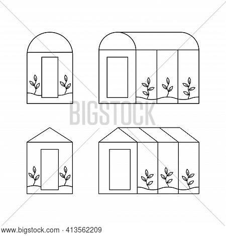 Set Of Greenhouse. Vector Illustration. Plants Growing Inside Glass Greenhouse. Vector Empty Greenho