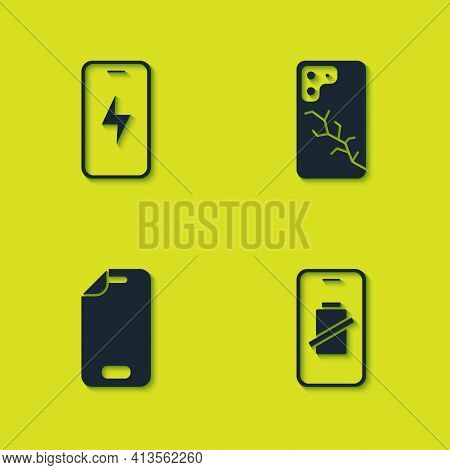 Set Mobile Charging Battery, Smartphone Charge, Glass Screen Protector And With Broken Icon. Vector