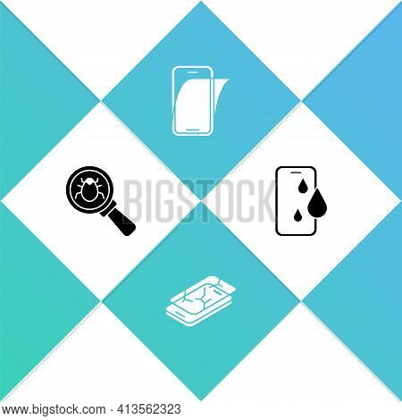 Set System Bug, Mobile With Broken Screen, Glass Protector And Waterproof Phone Icon. Vector