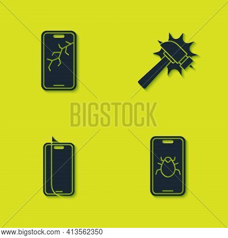 Set Mobile With Broken Screen, System Bug On Mobile, Glass Protector And Hammer Icon. Vector