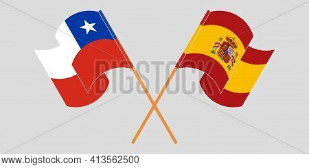 Crossed And Waving Flags Of Chile And Spain
