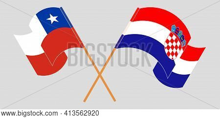 Crossed And Waving Flags Of Chile And Croatia