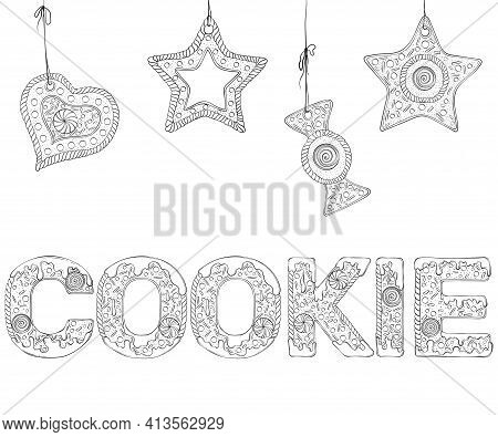 Cookie Text Composed Of Gingerbread Cookies. Christmas Lettering. Vector Illustration In Hand Draw S