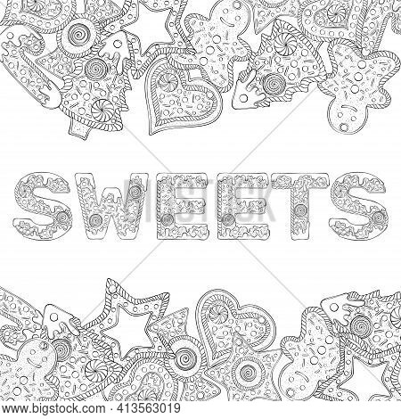 Sweets Text Composed Of Gingerbread Cookies. Christmas Lettering. Vector Illustration In Hand Draw S