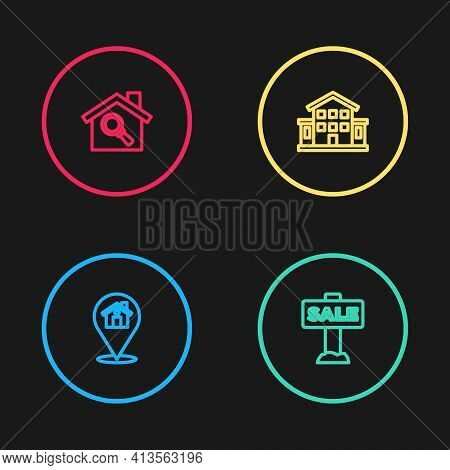 Set Line Location With House, Hanging Sign Sale, House And Search Icon. Vector