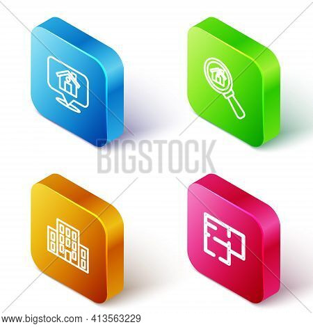 Set Isometric Line Location With House, Search, House And Plan Icon. Vector