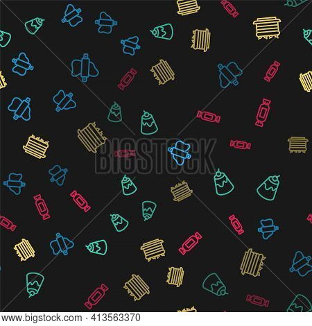 Set Line Rolling Pin On Dough, Pudding Custard, Cake And Candy On Seamless Pattern. Vector
