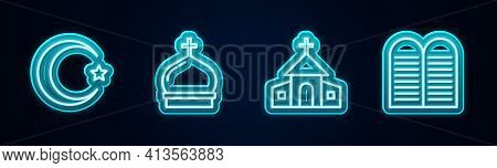 Set Line Star And Crescent, Church Tower, Building And The Commandments. Glowing Neon Icon. Vector