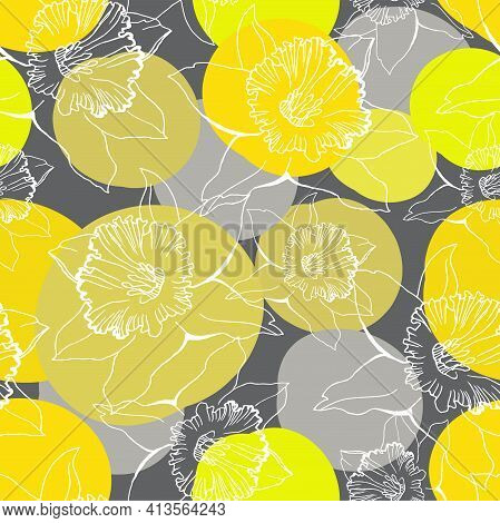 Seamless Pattern With Outline Daffodils On Trendy Colors Yellow Illuminating And Ultimate Gray Spott