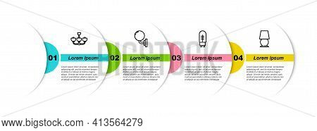 Set Line Chandelier, Wall Lamp Or Sconce, Light Emitting Diode And Table. Business Infographic Templ