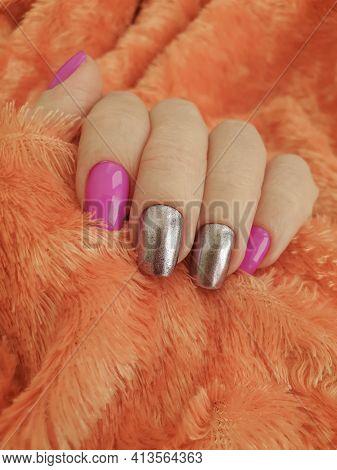 Female Hand Beautiful Manicure Stylish Background Nourishing